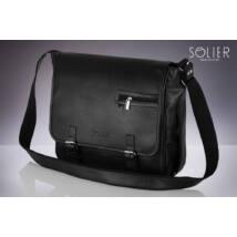 SOLIER matt fekete ECO-bőr laptop táska