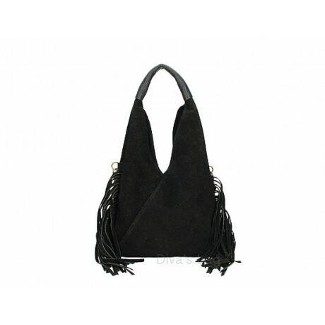 Fekete színű velúrbőr rojtos táska -70's