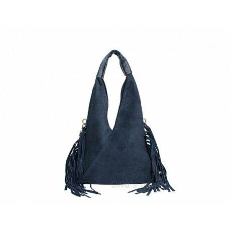Kék színű velúrbőr rojtos táska -70's