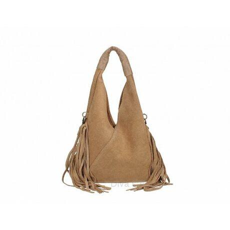 Sötét taupe színű velúrbőr rojtos táska -70's