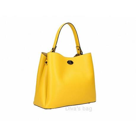 Elegáns sárga bőrtáska több rekesszel
