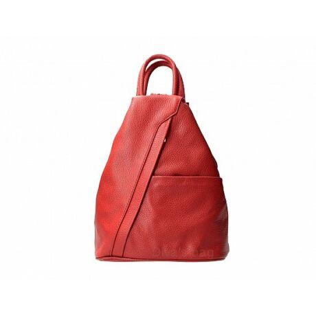 Piros bőr hátitáska kettécipzározható vállpántokkal