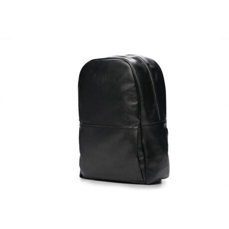 SOLIER fekete ECO-bőr hátitáska kivehető laptoptartóval