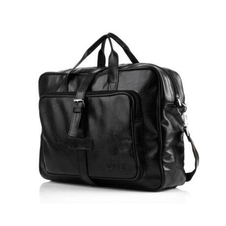 SOLIER vintage fekete ECO-bőr laptop táska