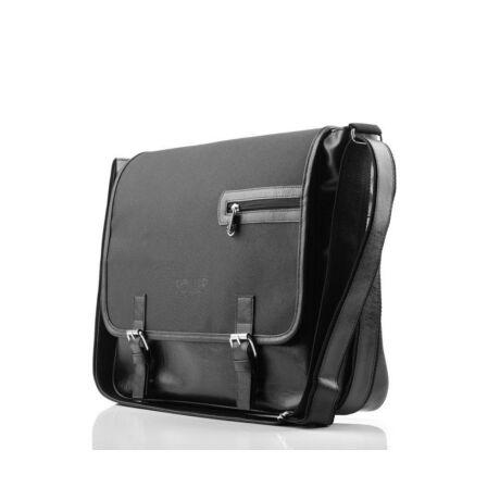 SOLIER fekete ECO-bőr laptop táska