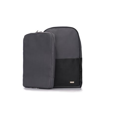 SOLIER szürke- fekete ECO-bőr hátitáska kivehető laptoptartóval
