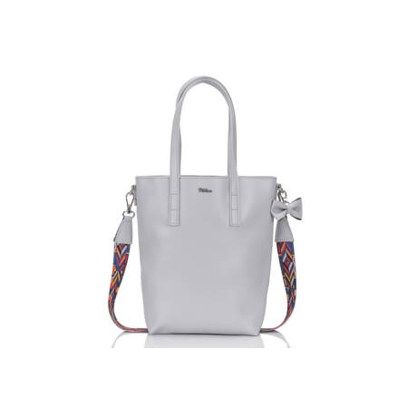 MILTON világos szürke eco-bőr női shopper táska