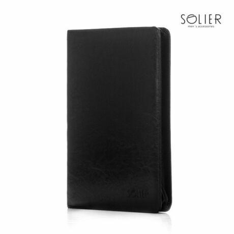 SOLIER ECO bőr dokumentumtároló fekete