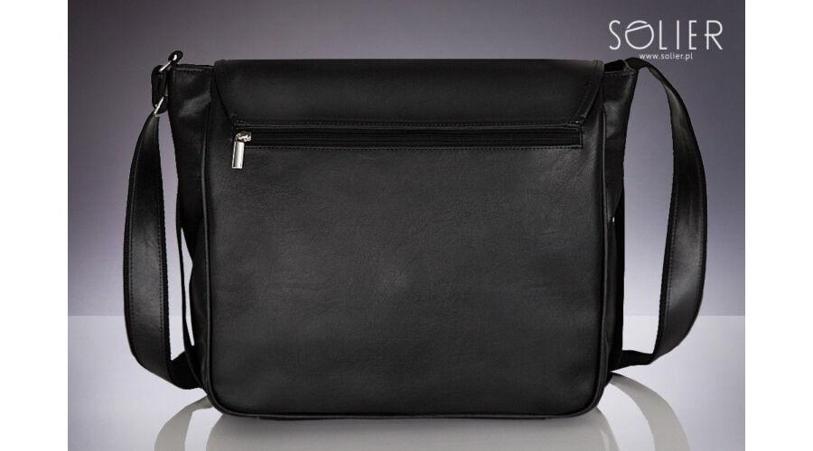 SOLIER matt fekete ECO-bőr laptop táska 762185e844