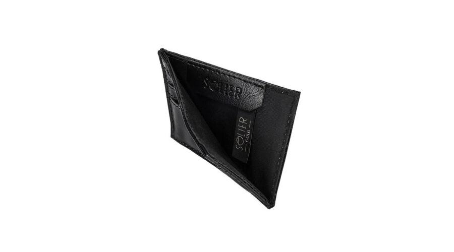 SOLIER fekete valódi bőr elegáns kártyatartó 2bb9891b85